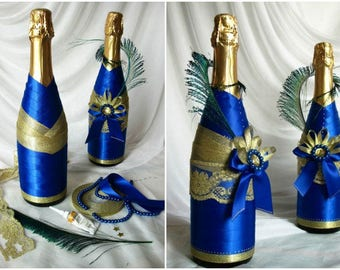 Decoupage of bottles for weddings, anniversaries and any other events