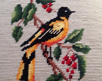 Needlepoint Bird Pillow