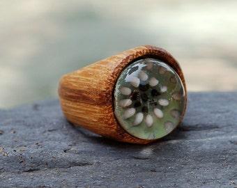 Wood Ring Glass Cab Boro Borosilicate Lampwork Wooden Jewelry Eye of Horus Size 7
