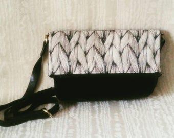Foldover Crossbody Tote Bag, Black Velvet, Canadian Made, 1867Shop, Knit Design, Handmade, Sweater Knit Tapestry, Braid Design