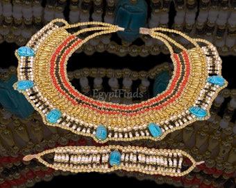 Wonderful Egyptian Beaded 7 Scarabs Cleopatra Scarab Necklace Collar & Bracelet