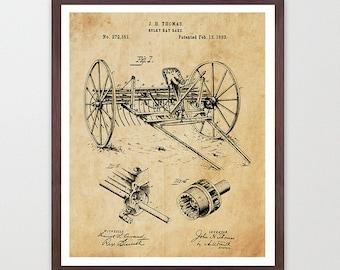 Farm Patent  - Farm - Farming Art - Old Tractor - Plow - Plow Patent - Plow Art - Farm Decor - Farm Wall Art - Barn - Garden - Rural Art