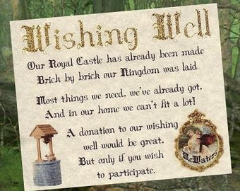 qty 50 Storybook Fairy Tale Wedd ing Party Favors Wishing Well Cards