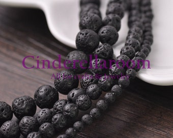 Wholesale 4mm 6mm 8mm 10mm Black Round Lava Stone Natural Pelelith Gemstone Loose Spacer Beads Jewelry Findings Bulk Lot BS054