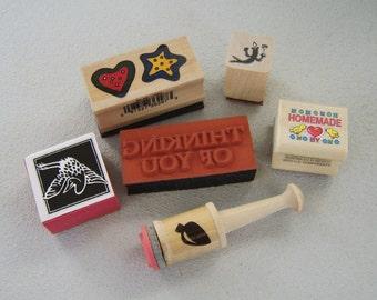 Rubber Stamp Destash Lot of 6 Assorted Images