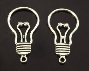 3PC Light Bulb Charms-Open Light Bulb Pendant-Antique Silver Tone