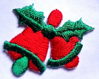 Christmas bells with holly  iron on patch applique