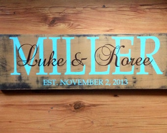 Established sign. Personalized family name sign. Family plaque. Wedding sign. Custom name sign. Custom wood sign. Anniversary gift.