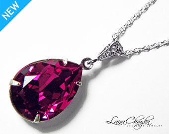 Fuschia Crystal Necklace, Swarovski Fuschia Teardrop Necklace, Hot Pink Silver Pendant, Wedding Mother of The Bride Necklace Bridal Jewelry