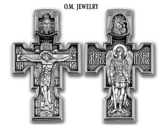 Christian Orthodox Crucifix Michael Russian Cross 925 sterling silver pendant