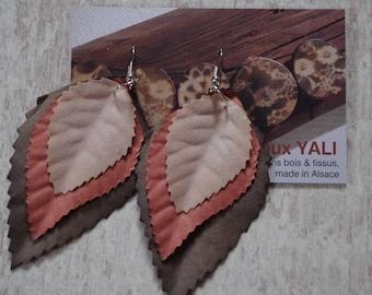 3 colors of autumn leaf earrings