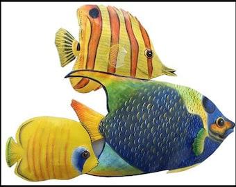 Tropical Fish, Metal Wall Art - Painted Metal Art, Garden Decor - Metal Wall Hanging - Tropical Decor - Pool Art, K-150-15