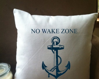 No Wake Zone throw pillow cover, custom throw pillow, decorative throw pillow