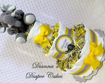 Elephant Baby Diaper Cake Yellow and Gray Chevron Shower Gift or Shower Centerpiece