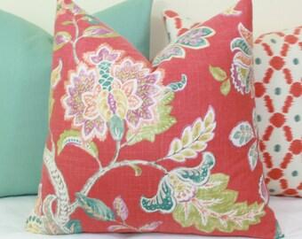 Coral Jacobean linen decorative throw pillow cover 18x18 20x20 22x22 24x24 26x26 Euro sham Red Lumbar 12x20 12x24 14x24 14x26 16x24 16x26