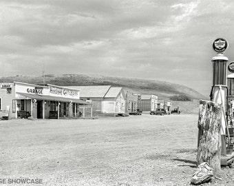 Vintage Photo Gas Pumps - Farmers Union Gas Station - Phillips 66 - Garage - Small Town - Grassy Butte, North Dakota