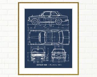 "Datsun 1600 Blueprint, Datsun 510 Blueprint, Blueprint Art, Garage Art, Printable Automotive Decor, Instant Download, Datsun, 8x10"", 14x11"""