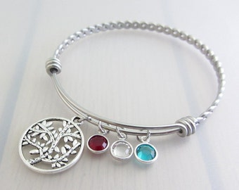 Family Tree Charm Stainless Steel Bangle, Personalised Birthstone Bangle, Custom Silver Tree Bracelet, Mothers Bangle, Mothers Gift