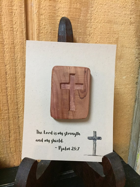Hand Carved Pocket Crosses | The Lord is my strength and my shield. Psalm 28:7