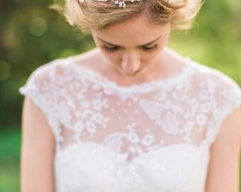 Bridal Gold Headband Pearl Headband Beaded Headband Pearl Headband Bridal Hair Wreath Bridal Hair Vine Pearl Hair Vine Wedding #153