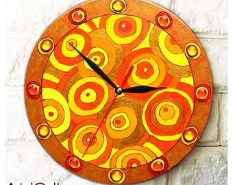 Orange Wall Clock, Modern wall clock without numbers, White wall clock, wood clock, white home decor, or Office, Industrial style