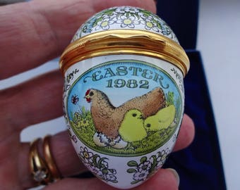 Halcyon Days English Enamels Boxed Mother Hen and Chicks Easter Egg 1982 Easter Gift