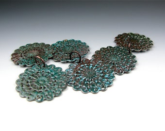 Enameled Round Filigree / Teal enamel / Made to order