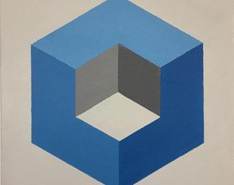 Op Art Geometric Cube Painting