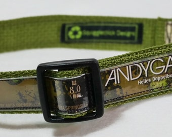 Adjustable Dog Collar from recycled Abita Andygator Beer Labels