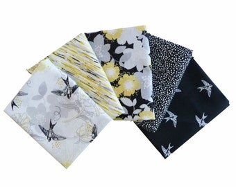 Yellow, Gray & Black Flowers and Bird Fabric, Quilters Palette Marbella, Fat Quarter Bundle, 1/2 Yard or 1 Yard Bundle of 5, Floral Cotton