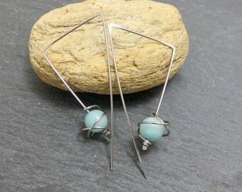 Earrings minimalist large hooks lapis lazuli and surgical steel