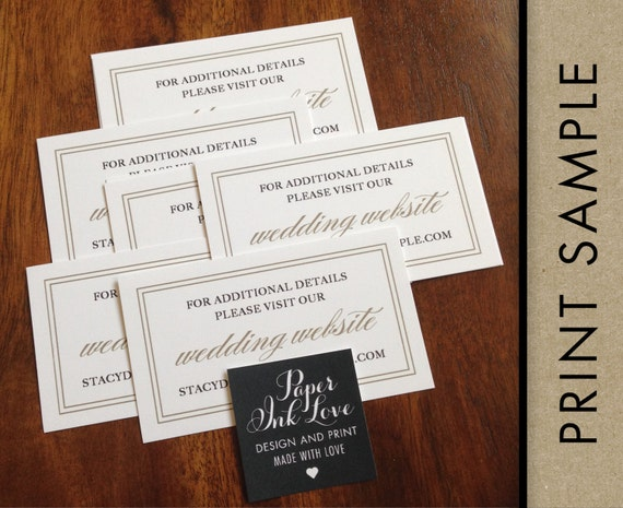 Wedding Website Cards, Enclosure Cards, Wedding Registry Cards, Printed Inserts, White with Gold Border, Simple, Elegant 20 Pieces Per Order