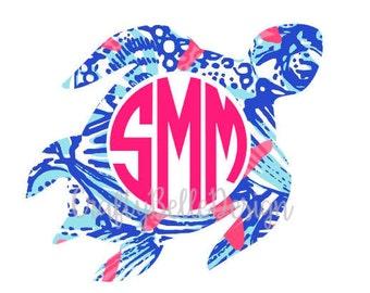 Sea Turtle Monogram | Sea Turtle Decal | Lilly Pulitzer inspired Sea Turtle Monogram | Car Decal | Yeti Decal | Coastal Decal | Beach Decal