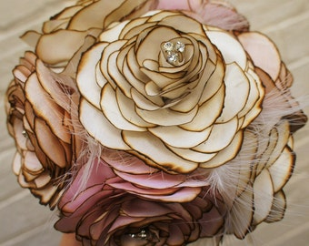 Hand made vintage fabric silk flower wedding bride's bouquet, silk, satin, antique net and feather, choose your colours CUSTOM ORDER