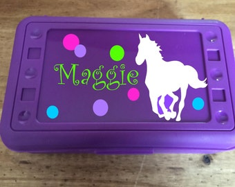 Back to School, Horse Design, Personalized Pencil Box, Many colors available