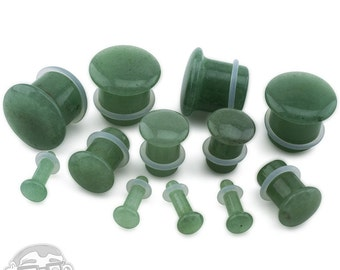 "Aventurine Green Stone Plugs - Single Flare (8G - 5/8"") Sold In Pairs - New!"