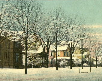Waterloo Iowa Winter Scene on South Street Vintage Postcard 1910