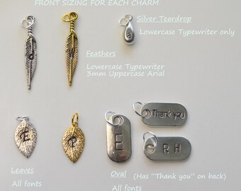 Initial charms, Stamped Monogram Charms, silver & gold leaf charms, silver teardrop charm, feather charms or silver oval charm,