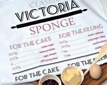 Classic Victoria Sponge Cake Recipe Tea Towel Birthday Gift, 100% Cotton, UK Made, Free Delivery