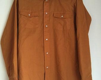 Vintage Rust Orange Western Shirt