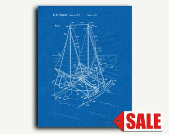 Patent Print - Outrigger Sailboat Patent Wall Art Poster
