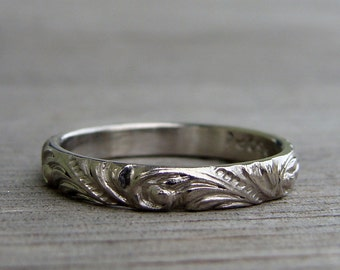 Recycled 950 Palladium Scroll Patterned Wedding Band or Stackable Ring, Ethical Jewelry, Sustainable, Eco-Friendly, Made To Order