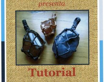 Tutorial n2  sacchettino per pietre a macrame  /   Macrame bag stone/ Macrame wrapping Tutorial