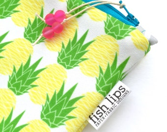 Aloha Pineapples Wet Bag, Water Resistant Bikini Bag, Summer Love Zipper Pouch, Recycled Canvas Beach Bag, Wipe-able Handmade Gift for Her