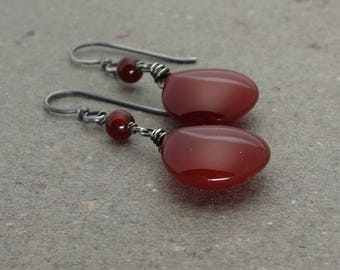 Carnelian Earrings Brick Red Gemstones Oxidized Sterling Silver Earrings Gift for Mom Gift for Her