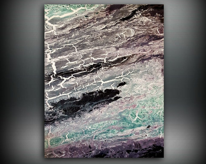 ORIGINAL Painting, Art Painting Acrylic Painting Abstract Painting, Black and White Wall Hanging, Small Wall Art, Modern Wall Decor 16 x 20