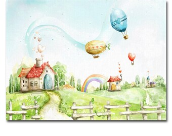 Canvas Art Print Panel, Wall Painting Art, Framed home decor children room 40 x 25 cm : Ready to hang