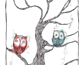 "A4 Archival Art print ""Coloured Owls"" design"