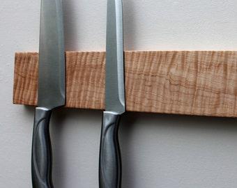 Tiger Maple Knife Rack, Magnetic Knife Rack, Knife Holder, Wood Knife Holder