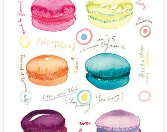 Macarons at tea time watercolor illustration print, Laduree macaroon, Kitchen art, 8X10 Colorful french pastry poster, Home decor